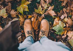 腳下滿是深秋落葉