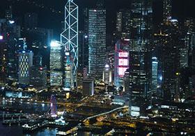 城市的夜間景觀高清圖