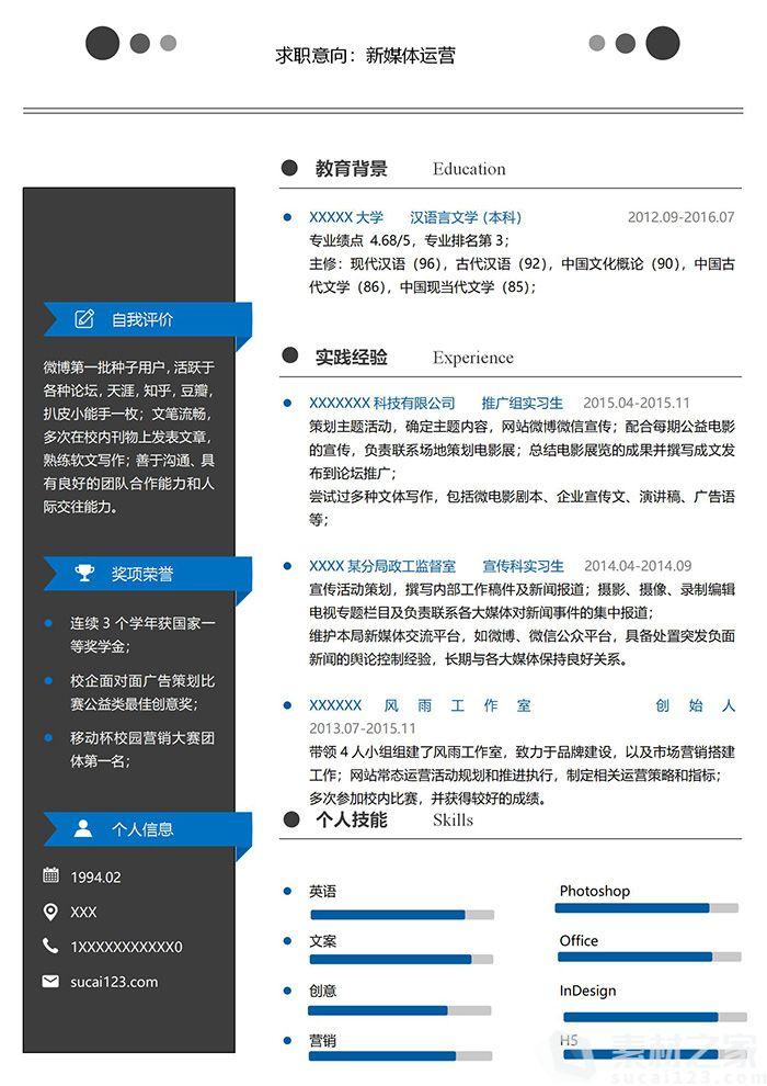 黑蓝商务系新媒体运营简历模板
