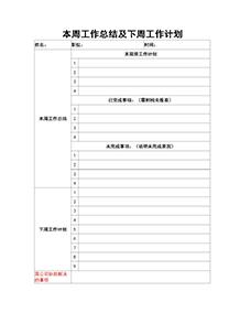 公司员工工作总结以及下周计划表