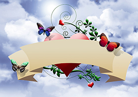 抽象蝴蝶爱心背景横幅