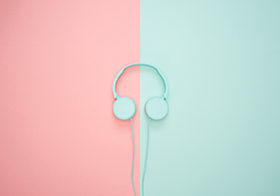 粉蓝拼色背景高清图