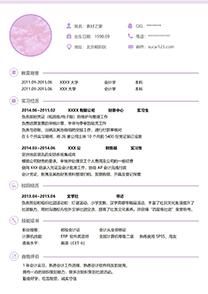 浪漫紫色成套会计师简历模板