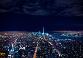 城市建筑群航拍夜景高清圖
