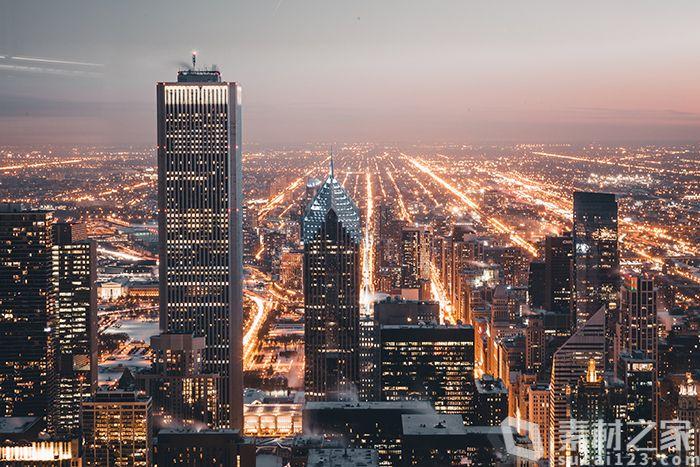 城市建筑夜景航拍图