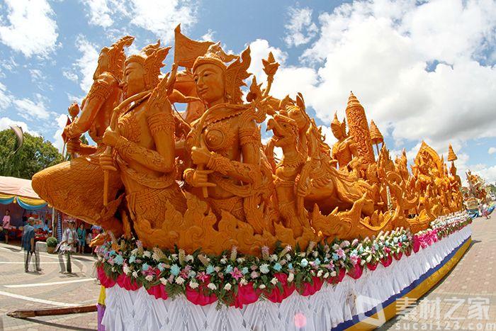 泰国佛教庆典佛像花车巡游