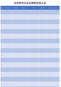 信用管理企业业绩情况统计表