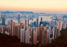 黄昏中国香港高楼大厦鸟瞰图