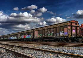 火車車廂創意涂鴉海報