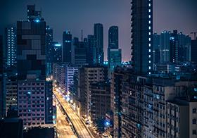 城市高層建筑群夜晚高清圖