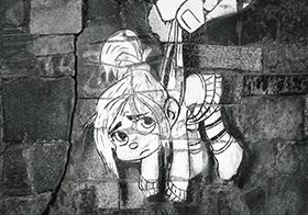 黑白卡通人物涂鸦墙绘