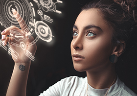 创意科技女孩高清图