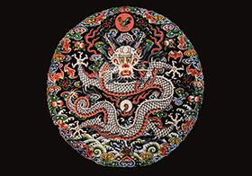 彩色團龍紋樣背景高清圖