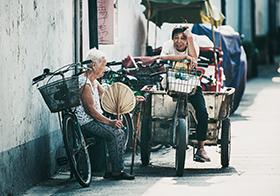 農村老人的生活場景高清圖