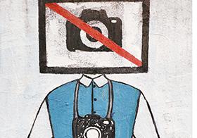 创意手绘人物禁止拍照海报