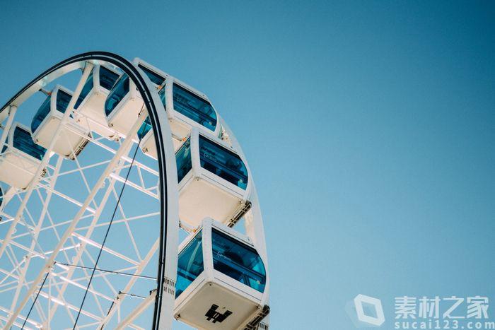 蓝色浪漫摩天轮背景高清图