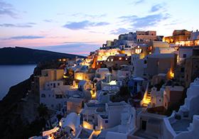 圣托里尼浪漫夜景高清圖
