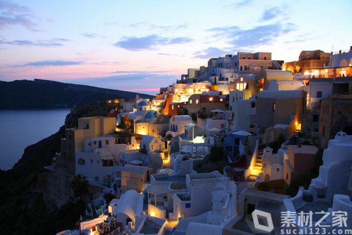 圣托里尼浪漫夜景高清图