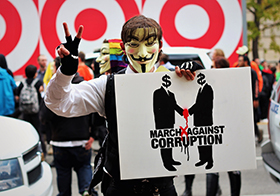 反對腐敗的白色手繪Banner