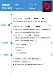 藍色銷售經理簡歷模板