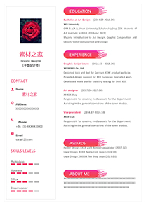 粉红平面设计英文简历模板