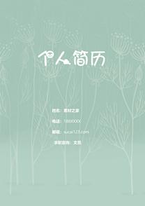 清新绿色文员简历封面模板